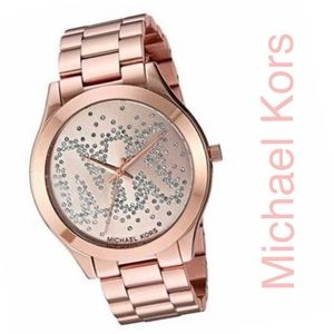 🌷Michael Kors Rose Gold Glitz Monogram Watch🌷